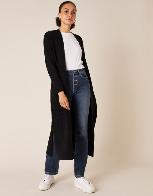 Knit Maxi Cardigan with Recycled Fabric, Black (BLACK), large