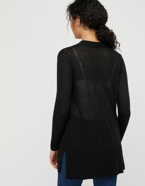 Elinor Exposed Seam Cardigan in Linen Blend, Black (BLACK), large