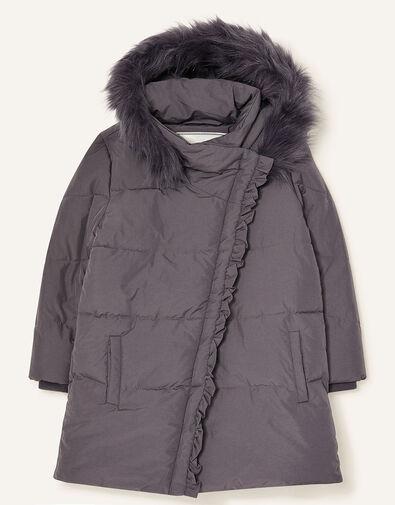 Asymmetric Ruffle Coat Grey, Grey (GREY), large