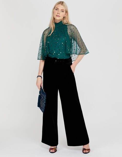 Kimberley Sequin Cape Top, Teal, large