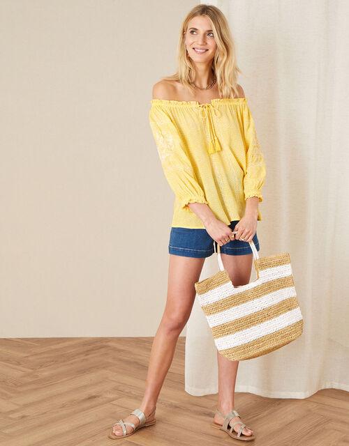 Anastasija Printed Off-Shoulder Top, Yellow (YELLOW), large