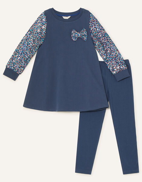 Sequin Sleeve Bow Tunic and Leggings Blue, Blue (NAVY), large