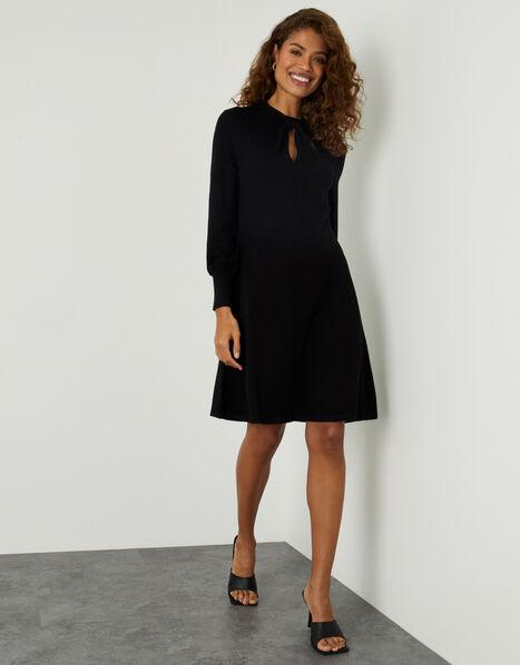 Twist Front Long Sleeve Dress Black, Black (BLACK), large