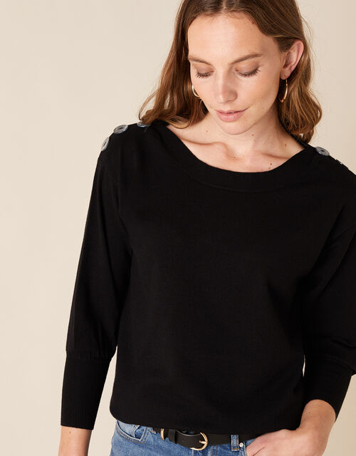 Button Shoulder Knit Jumper with Recycled Nylon, Black (BLACK), large