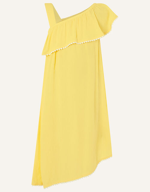 One-Shoulder Frill Dress in LENZING™ ECOVERO™, Yellow (YELLOW), large