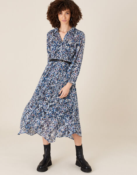 Printed Hanky Hem Shirt Dress in Sustainable Viscose  Blue, Blue (BLUE), large