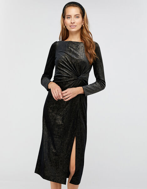 Robyn Foil Print Velvet Midi Dress Black, Black (BLACK), large