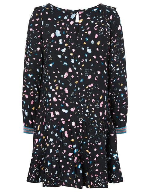 Animal Print Woven Dress, Black (BLACK), large