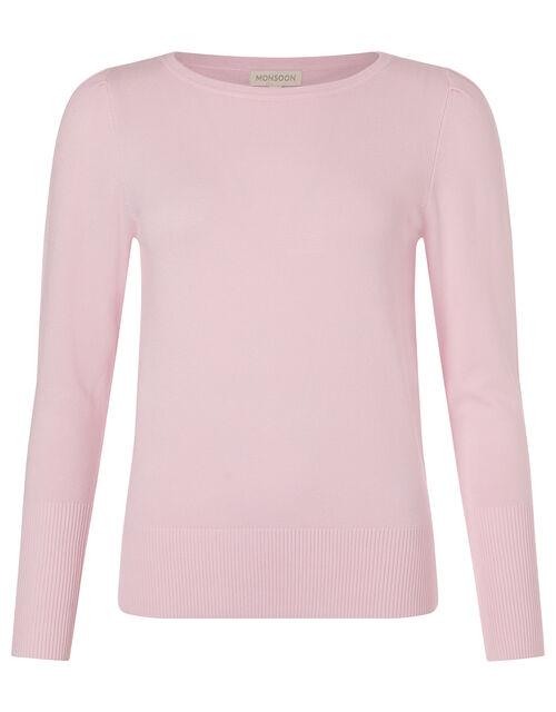 Puff Sleeve Knit Jumper, Pink (BLUSH), large