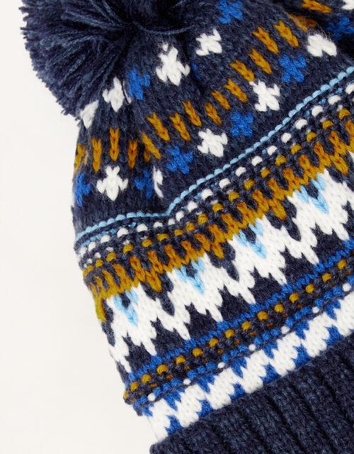 Frankie Fair Isle Knit Beanie, Blue (NAVY), large