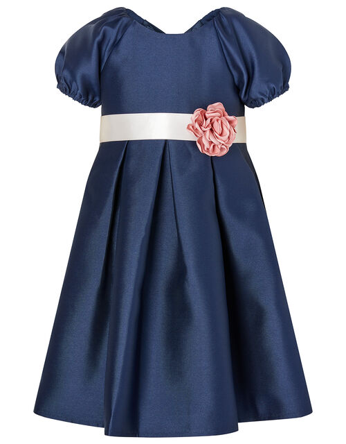 Baby Corsage Belt Duchess Twill Dress, Blue (NAVY), large