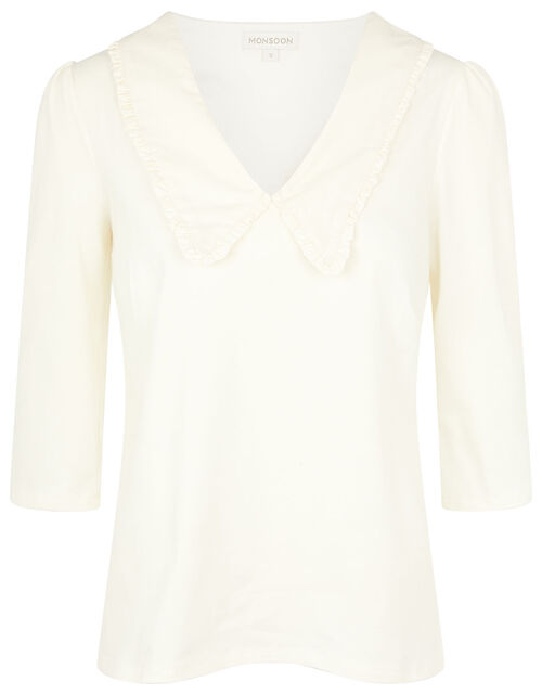 Winnie Frill Collar Jersey Top, Ivory (IVORY), large
