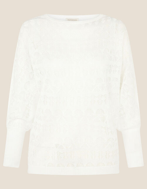 Pippa Pointelle Sheer Jumper , Ivory (IVORY), large