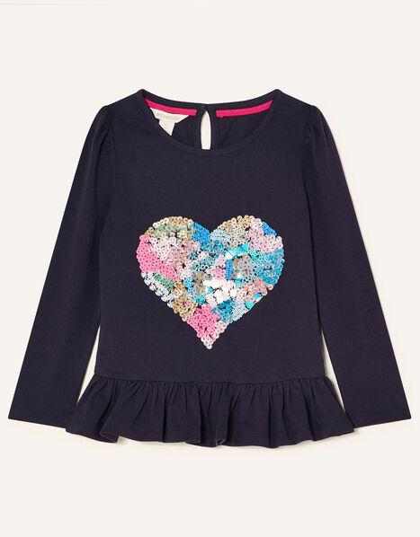 Embellished Heart Long Sleeve Top  Blue, Blue (NAVY), large