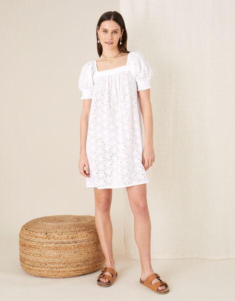 Broderie Square Neck Dress White, White (WHITE), large