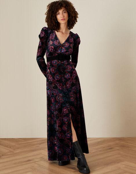 Victoria Printed Maxi Dress Black, Black (BLACK), large