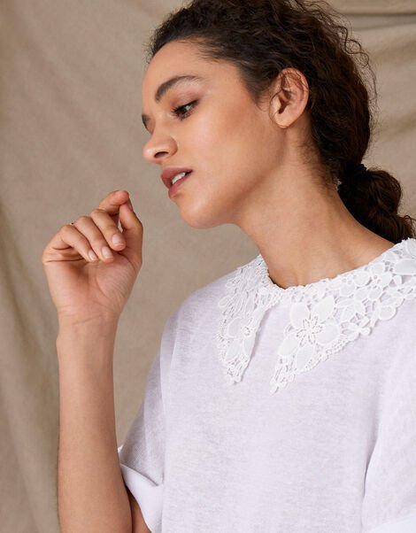 Short Sleeve Collar Jumper in Linen Blend Ivory, Ivory (IVORY), large