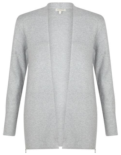 Zip Side Knit Cardigan with LENZING™ ECOVERO™, Grey (GREY MARL), large
