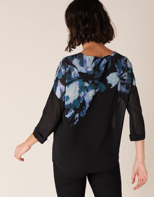 Floral Placement Print Blouse, Black (BLACK), large