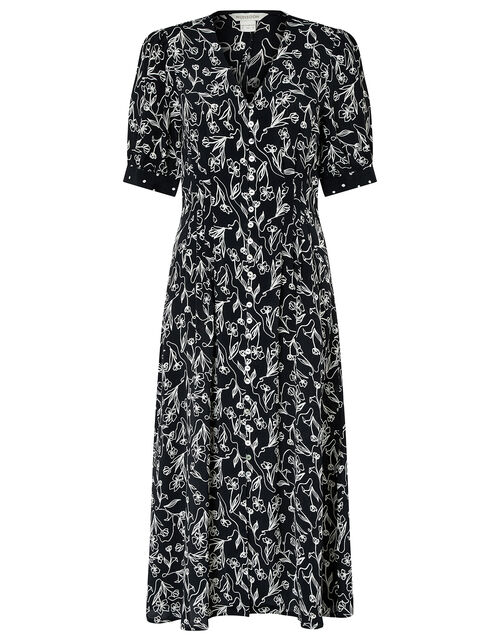 Jean Printed Dress in Sustainable Viscose, Black (BLACK), large