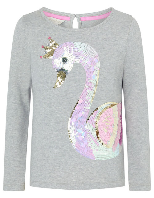 Sequin Swan Long-Sleeve T-shirt, Grey (GREY), large