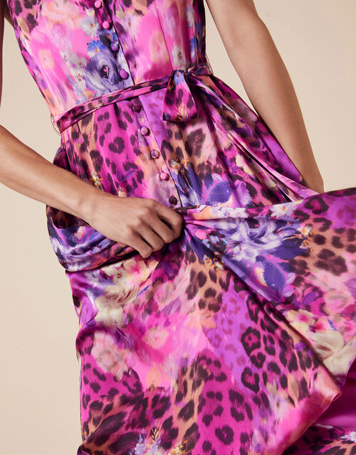 Crystal Animal Sleeveless Satin Dress, Pink (PINK), large