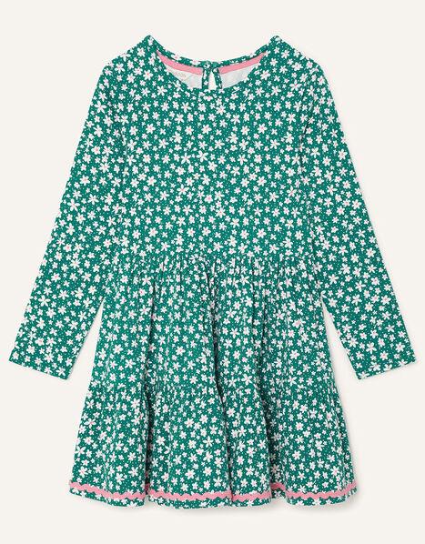 Floral Long Sleeve Jersey Dress Green, Green (GREEN), large