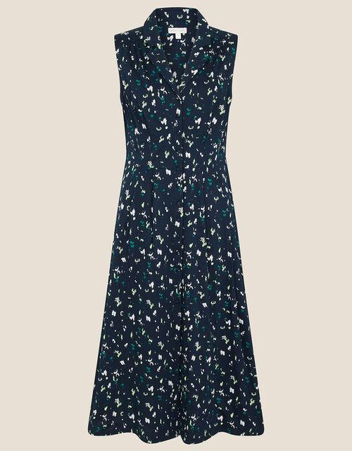 Tracy Printed Jersey Midi Dress, Blue (NAVY), large
