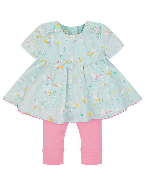 Newborn Chick Printed Top and Legging Set Blue, Blue (BLUE), large
