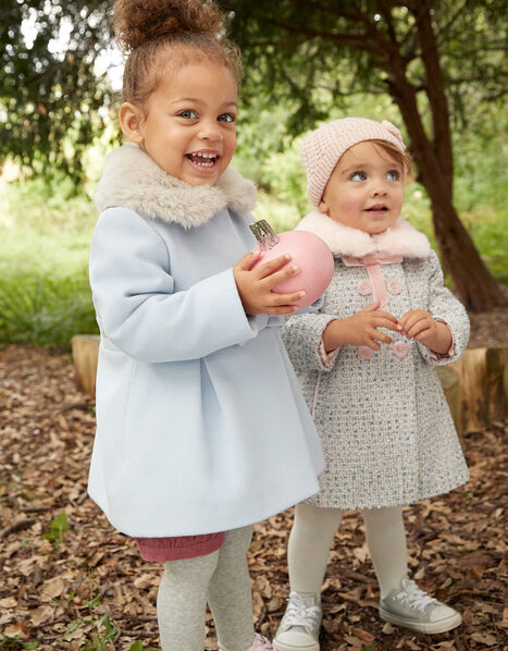 Baby Fluffy Collar Bow Coat Blue, Blue (PALE BLUE), large