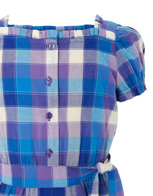 Check Print Puff Sleeve Jumpsuit, Blue (BLUE), large