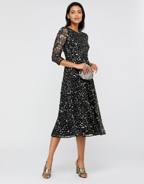 Amber Heart Sequin Midi Dress, Black, large