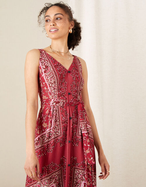 Scarf Print Jersey Maxi Dress, Red (RED), large
