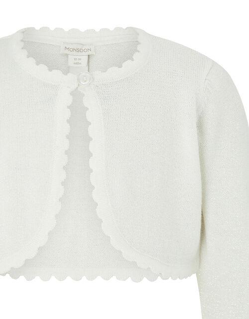 Baby Niamh Sparkle Knit Cardigan, Ivory (IVORY), large