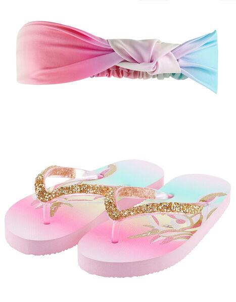 Rainbow Unicorn Flip Flop and Bando Set  Multi, Multi (MULTI), large