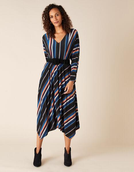 Stripe Print Midi Dress Black, Black (BLACK), large