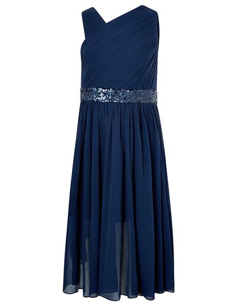 Abigail Sequin One-Shoulder Prom Dress Blue, Blue (NAVY), large
