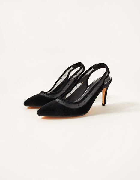 Velvet Mesh Heeled Sling-Back Sandals Black, Black (BLACK), large