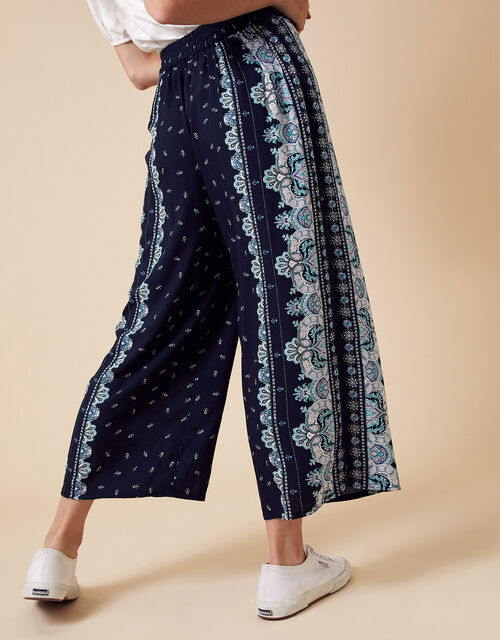 Printed Wide Leg Trousers in LENZING™ ECOVERO™, Blue (NAVY), large