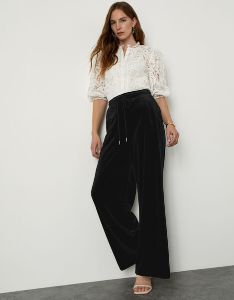Velvet Wide Leg Jersey Trousers  Black, Black (BLACK), large