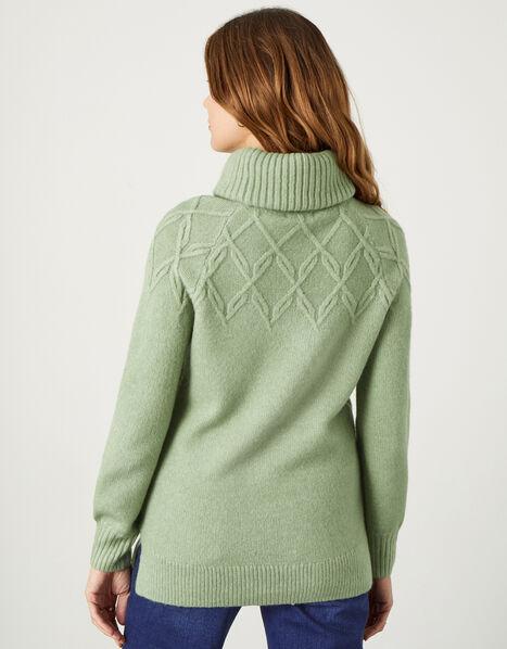 Cowl Neck Stitch Detail Longline Jumper Green, Green (GREEN), large