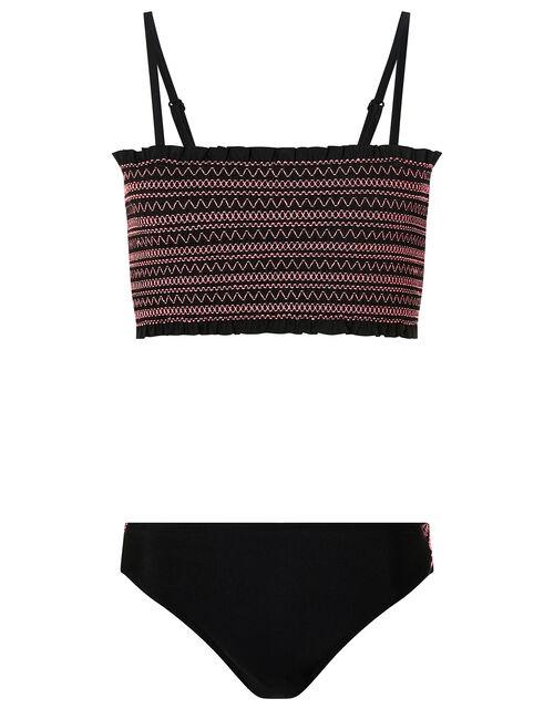 Shirred Bikini Set, Black (BLACK), large