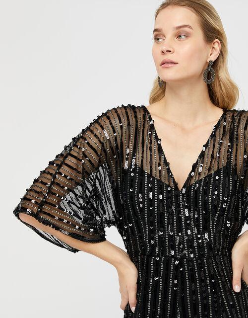 Lorelai Sequin Jumpsuit, Black, large