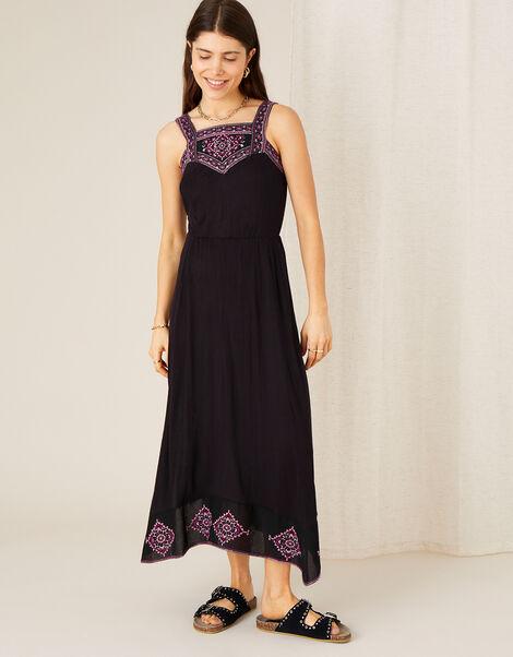 Embroidered Jersey Hanky Hem Dress  Black, Black (BLACK), large