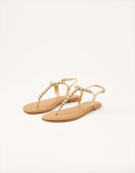 Embellished Toe-Post Sandals Gold, Gold (GOLD), large