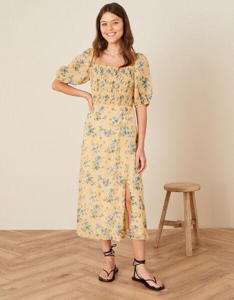 Yvonne Floral Shirred Midi Dress Yellow, Yellow (YELLOW), large