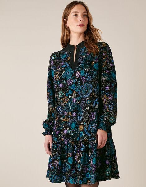 Floral Print Short Dress Black, Black (BLACK), large