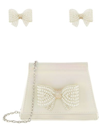 Pearly Bow Bag and Hair Clips Set, , large