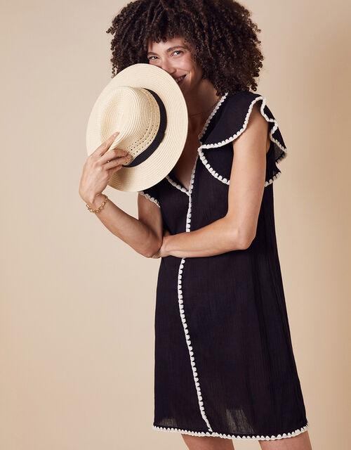 Lila Frill Sleeve Dress in Organic Cotton, Black (BLACK), large