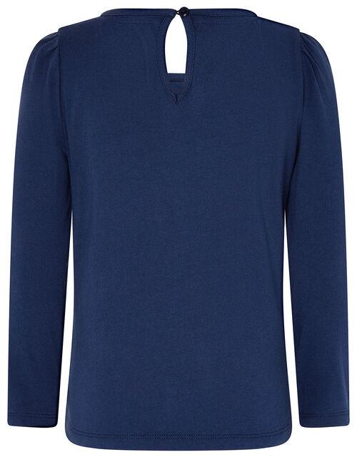 Rainbow Sequin T-shirt , Blue (NAVY), large